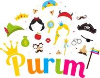 Żydowski wakacyjny Purim ustawiający kostiumowi akcesoria szczęśliwy purim w hebrew Zdjęcie Royalty Free