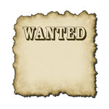 Ye old sign. Old western looking bold wanted type poster burnt edges small drop shadow rescales nicely Stock Photo