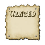 Ye old sign. Old western looking wanted poster with nails bold text burnt edges small drop shadow rescales nicely Stock Photo