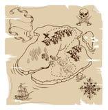 Ye Olde de Kaart van de Schat van de Piraat Stock Afbeelding