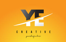 YE Y E Letter Modern Logo Design with Yellow Background and Swoo Stock Photo