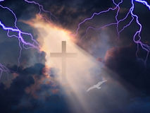 Yea though I walk. Lightning Strikes while cross is revealed in sunlight streaming Stock Photography