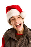 Yeah!. Happy young christmas man isolated on white background Stock Photography