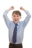 Yeah. Enthusiastic or excited boy in uniform Royalty Free Stock Images