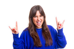 Yeah baby!. Happy woman showing rock sign, isolated over white Stock Photo