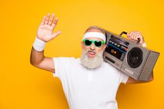 Yeah bro! What`s up? Cheerful excited aged funny gangster c stock photos