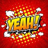 Yeah! Komisk anförandebubbla, tecknad film Royaltyfri Foto