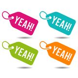 Yeah price Tags. Flat Eps10 Vector Illustration. Colourful Buttons Banners Stock Photo