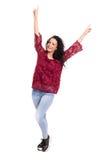 Yeah! Sooo happy!. Studio shot: Happy woman with raised arms Stock Photography
