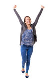 Yeah! Sooo happy!. Studio shot: Happy woman with raised arms Stock Photography