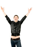 Yeah! Young man is happy Royalty Free Stock Photo