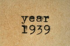 Year 1939. Written with an old typewriter on an aged paper Stock Images