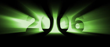 Year 2006 green. New year 2006. Flaming green text Vector Illustration