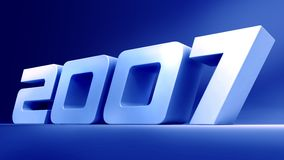 Year 2007. 3d 2007 word with blue background Royalty Free Stock Photos
