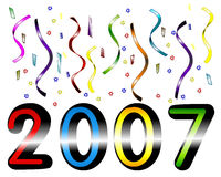 Year 2007. Colorful 2007 Year, Fun and festive concept Royalty Free Stock Image