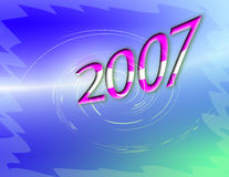 Year 2007 Zooming. This is a stylized  background portraying movement, excitement and change. Year 2007 zooming past us Royalty Free Stock Photo