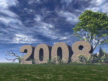 Year 2008. 2008 rock on green field - 3d illustration Royalty Free Stock Image