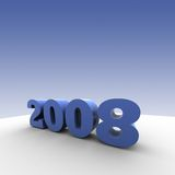 Year 2008. The year 2008 - 3d render illustration with shadow - blue background stock illustration