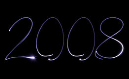 Year 2008. On black background Stock Photos