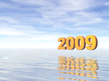 Year 2009. Golden 2009 text in water landscape - 3d illustration Royalty Free Stock Photography