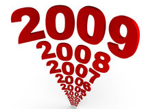 Year 2009. The numbers of years following each other ending in 2009 Stock Image