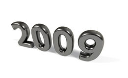 The year 2009. In glossy metallic numbers over white background Royalty Free Stock Images