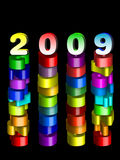 Year 2009. An illustration of year 2009 , supporting the concept of new year 2009, colorful 3d numbers on black background Royalty Free Illustration