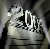 Year 2009. Silvery pedestal with ornaments and the number 2009 stock illustration
