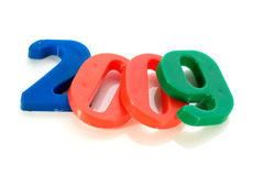 Year 2009. Written with twisted balloon numbers isolated on white royalty free stock photo