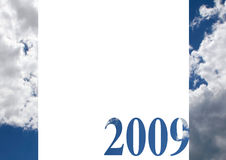 Year 2009. The year 2009 with blue clouds royalty free stock image
