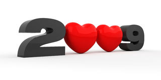 Year 2009. Black numbers and red hearts stock illustration