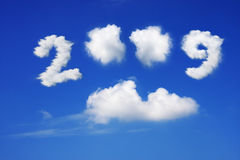 Year 2009. Cloud and blue sky on sunny day stock image