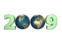Year 2009 with earth. 3D year 2009 with two globes isolated on white - basic design element Royalty Free Stock Image