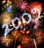 Year 2009 Fireworks Stock Photo