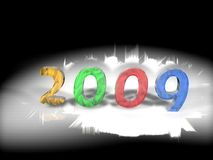 Year 2009 illustration. Colorful year 2009 illustration on black and white background royalty free illustration