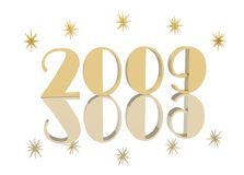 Year 2009 With Stars. Year 2009 numerals in gold color on white with dimensional stars and mirrored reflection Royalty Free Stock Photos