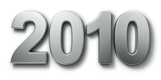 Year 2010. 2010 written in aluminum on white background Royalty Free Stock Images