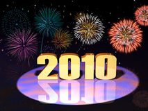Year 2010. Beautiful New Year / Fourth of July fireworks Vector Illustration