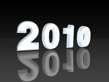 Year 2010. Word 2010 in white reflecting on black background Stock Photos