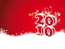 Year 2010. New year 2010 decoration with number on a red background Stock Illustration