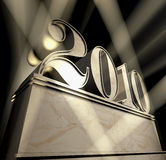 Year 2010. Pedestal of marble with number 2010 in sunbeams Royalty Free Stock Images