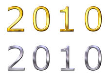 Year 2010 3D Golden and Silver Stock Images