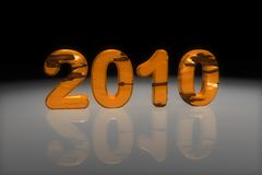 Year 2010. Metallic year 2010 in orange and black with reflective surface Royalty Free Stock Photo