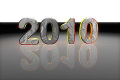 Year 2010. Metallic year 2010 with reflective surface Royalty Free Stock Photos
