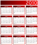 Year 2010 calendar. With red border royalty free illustration