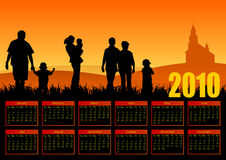 Year 2010 family calendar. Illustration Vector Illustration