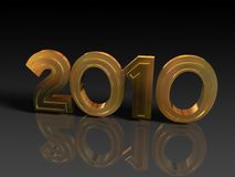Year 2010 graphics. Golden 2010 graphics over black background with reflection Stock Photo