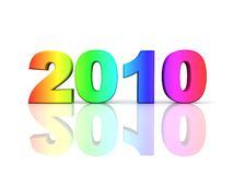 Year 2010 in rainbow colors. 3d render of the number 2010 in rainbow colors Royalty Free Stock Photography