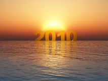 Year 2010 sunset. 3d render of year 2010 with sinset over the sea Royalty Free Stock Photo