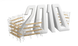 Year 2010 white, Scaffolding. Isolated 3d 2010 new year sign abstract, over white Royalty Free Stock Images